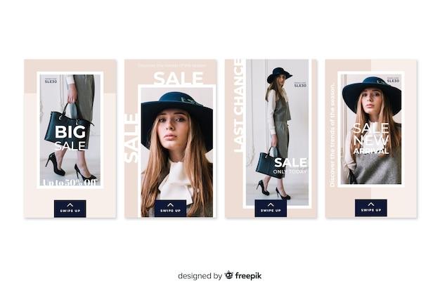 Storie di instagram astratte di vendita di moda