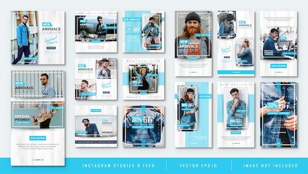 Storie di instagram blu minimalista e alimentazione modello di vendita di moda post