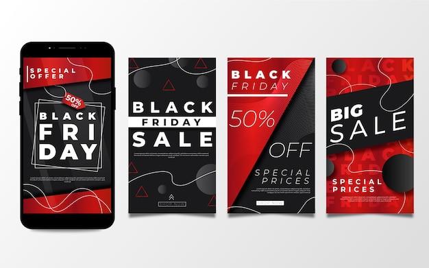 Storie di instagram del venerdì nero in design piatto