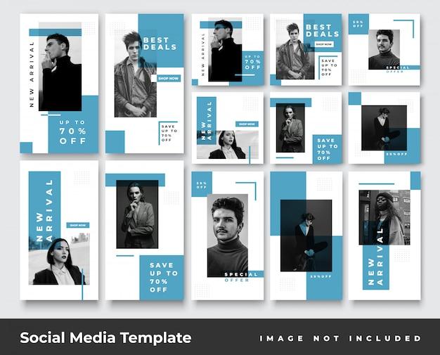 Storie di instagram di social media e feed post set di banner