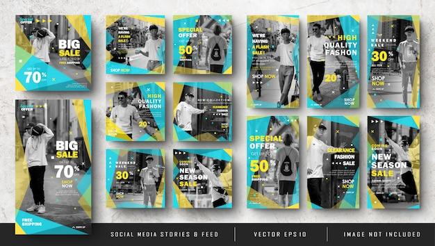 Storie di instagram di social media giallo blu e pacchetto dell'insegna della posta dell'alimentazione