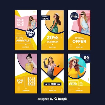 Storie di instagram di vendita di moda astratta