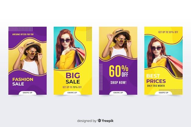 Storie di instagram di vendita di moda con foto