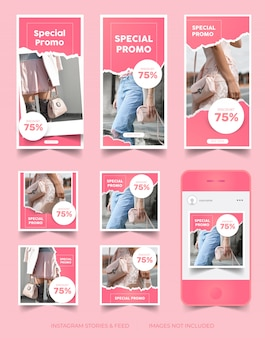 Storie di instagram e feed post template