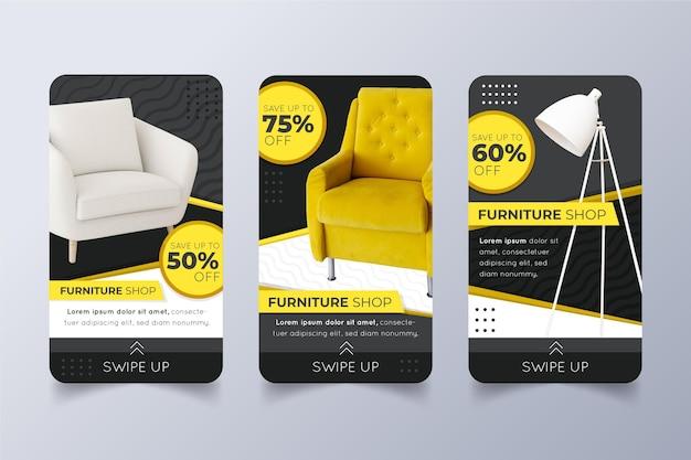 Storie di social media di vendita di mobili con foto
