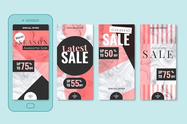 Storie di vendita colorate astratte instagram in stile marmo set