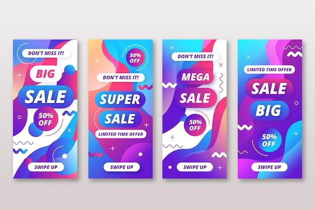 Storie di vendita colorate instagram effetto liquido