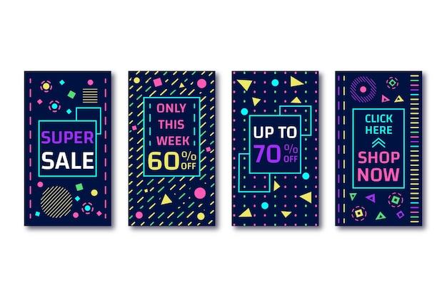 Storie di vendita di instagram astratto stile colorato
