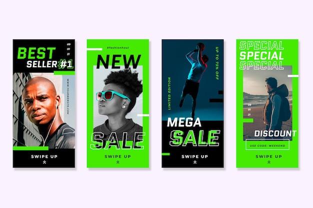 Storie di vendita di instagram di colori verde acido al neon