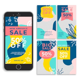 Storie instagram di vendita online di nuovi arrivi