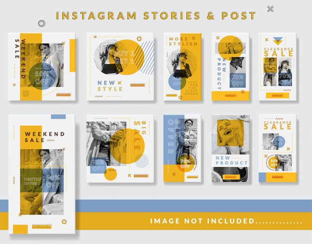 Storie minimaliste di instagram e post template set