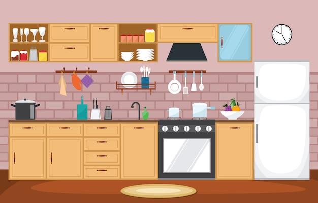 Stoviglie della coltelleria della mobilia interna della cucina che cucinano piano
