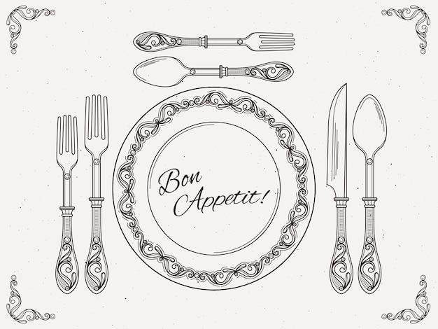 Stoviglie per banchetti piatto d'epoca con cucchiaio, forchetta e coltello. simboli di mangiare sul poster retrò vettoriale