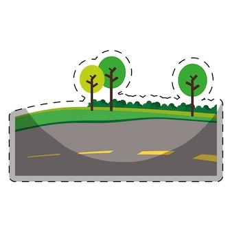 Strada asfaltata con alberi sull'immagine icona della strada