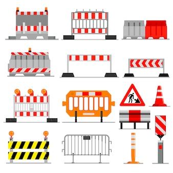 Strada barriera strada traffico-barriera in costruzione blocchi di avvertimento blocco stradale sull'illustrazione autostrada set di deviazione barricata e barriera stradale bloccata isolato su sfondo bianco