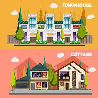 Strada con case a schiera e case di campagna con giardino