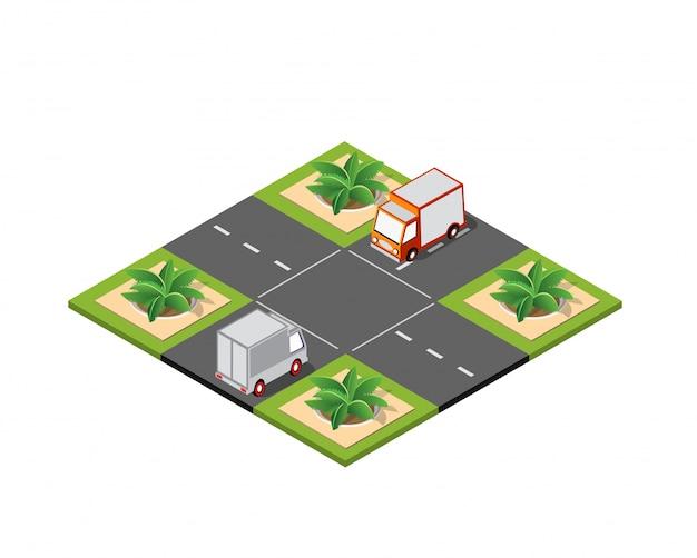 Strada del bivio isometrica