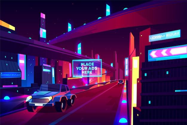 Strada di città di notte con banner di automobili in movimento, autostrada a due corsie di velocità, cavalcavia o ponte nella metropoli.