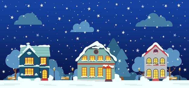 Strada di inverno con casa cottage, alberi di neve, nuvole di cespuglio, cartone animato piatto. bandiera orizzontale panoramica di buon natale e felice anno nuovo. paesaggio urbano