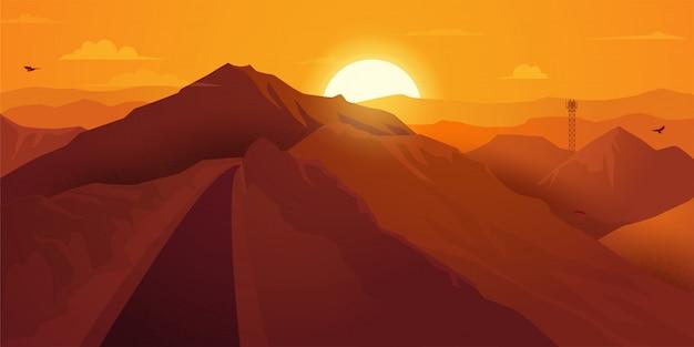 Strada di montagna al tramonto giallo