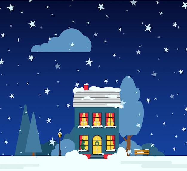 Strada di notte invernale con casa, alberi di neve, nuvole di cespuglio, carta cartone animato piatta. bandiera di festa di buon natale e felice anno nuovo. paesaggio suburbano