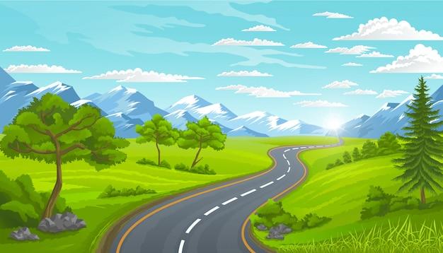 Strada e montagne, paesaggio in estate