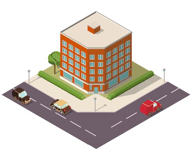 Strada isometrica con edificio e automobili