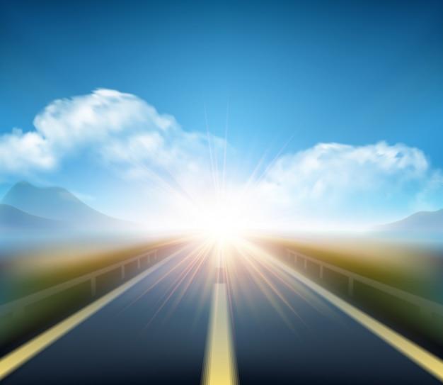 Strada sfocata e movimento blu offuscata cielo con nuvole