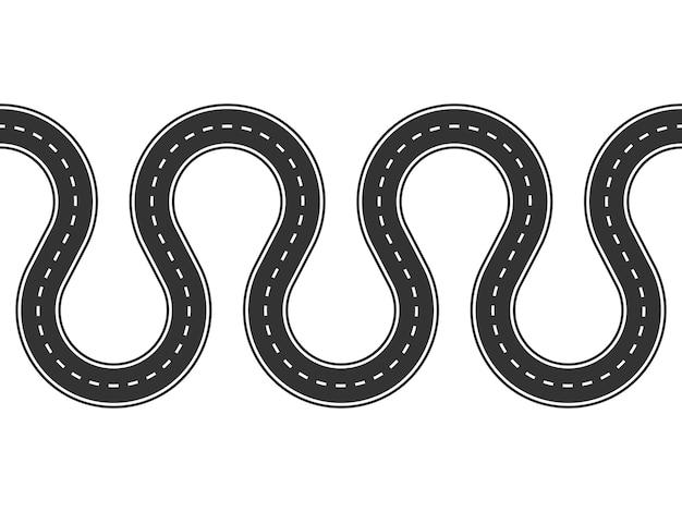 Strada tortuosa senza soluzione di continuità isolata su uno sfondo bianco