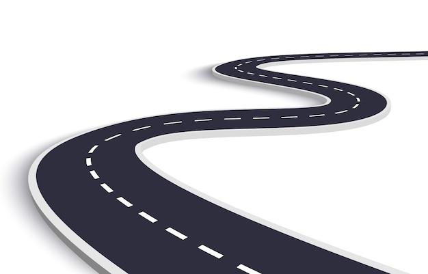 Strada tortuosa su uno sfondo bianco isolato