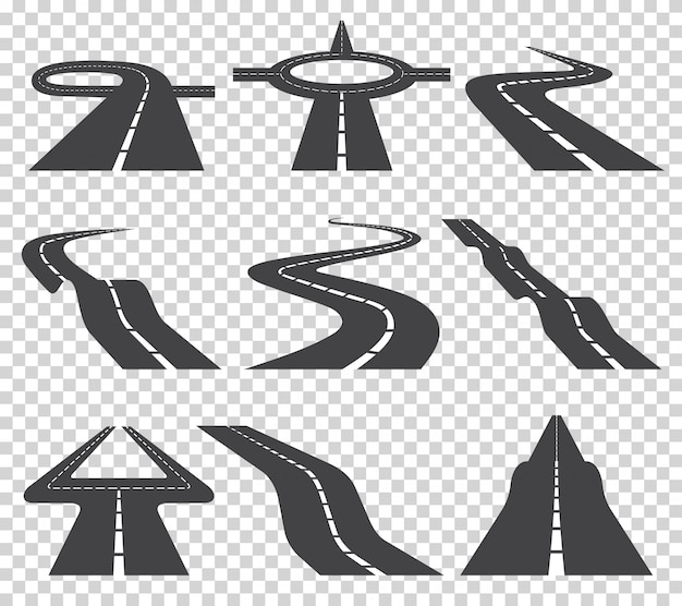 Strada tortuosa tortuosa o autostrada con indicazioni. direzione, set di trasporto.