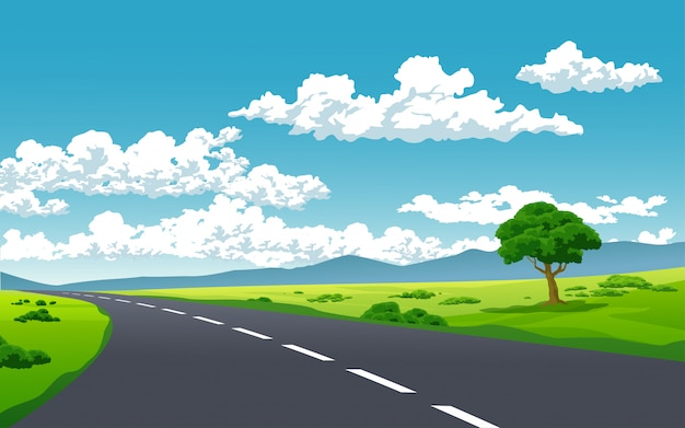 Strada vuota con giornata di sole