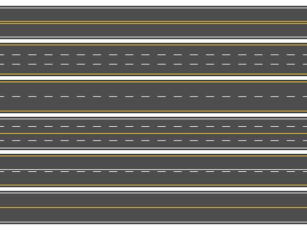 Strade asfaltate rettilinee orizzontali, linee di strade moderne o segni di autostrade vuote