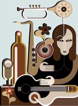 Strana donna con strumenti musicali - sfondo vettoriale. applicazione di arte astratta.