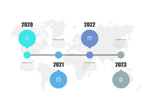 Strategia aziendale dell'elemento di infographic di cronologia di quattro anni con le icone