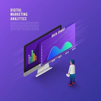 Strategia aziendale di concetto di design piatto. 3d design piatto isometrico. dati di analisi