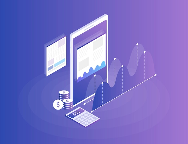 Strategia d'affari. dati di analisi e investimenti. successo aziendale revisione finanziaria con il telefono e gli elementi infografici. 3d isometrico piatto. illustrazione