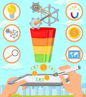 Strategia d'affari. vector piatta illustrazione.