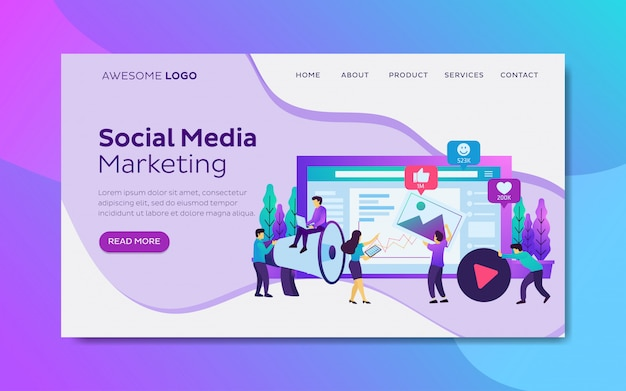 Strategia di marketing di annunci di social media modello di pagina di destinazione