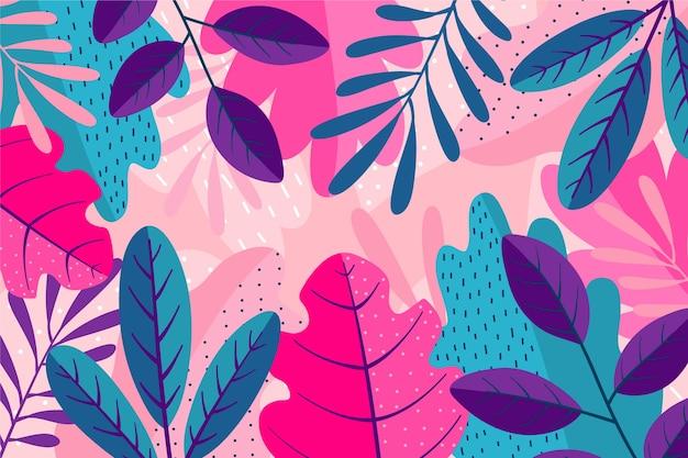 Strati di foglie colorate sullo sfondo