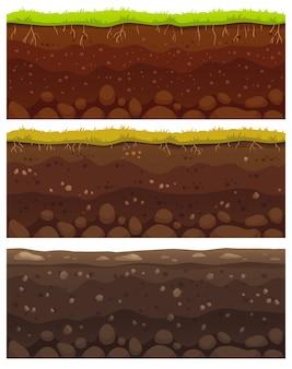 Strati di terreno senza soluzione di continuità. argilla sporca, superficie del terreno con pietre e motivo a trama di erba