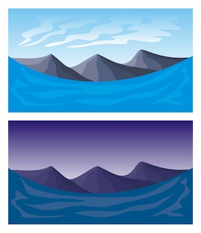 Strati separati di paesaggio senza cuciture per effetto di parallasse