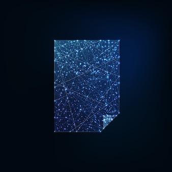 Strato di carta in bianco basso poligonale d'ardore futuristico d'ardore a4 su fondo blu scuro.