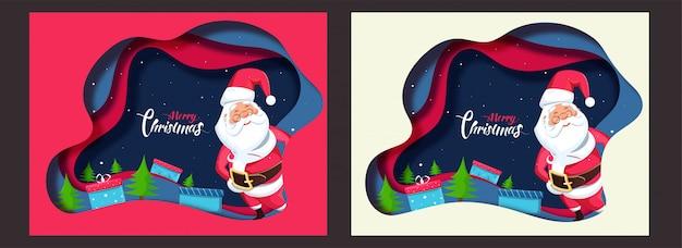Strato di carta tagliato biglietto di auguri con babbo natale, scatole regalo e albero di natale per la celebrazione di buon natale in due colori.