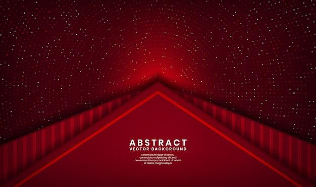 Strato di sovrapposizione del fondo di lusso del triangolo rosso astratto 3d su spazio scuro con scintillio dei punti e forma strutturata di legno
