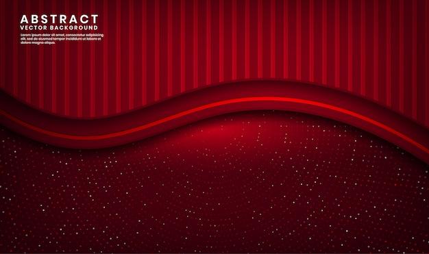 Strato di sovrapposizione del fondo di lusso delle onde rosse astratte 3d su spazio scuro con scintillio dei punti e forma strutturata di legno