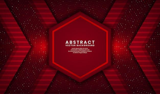 Strato di sovrapposizione del fondo di lusso di esagono rosso astratto 3d su spazio scuro con scintillio dei punti e forma strutturata di legno