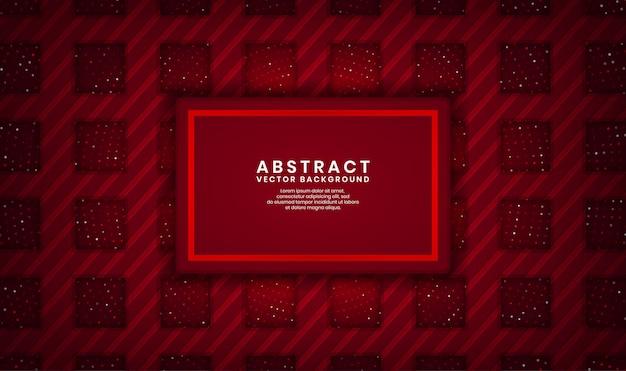 Strato di sovrapposizione del fondo di lusso di rettangolo rosso astratto 3d su spazio scuro con scintillio dei punti e forma strutturata di legno