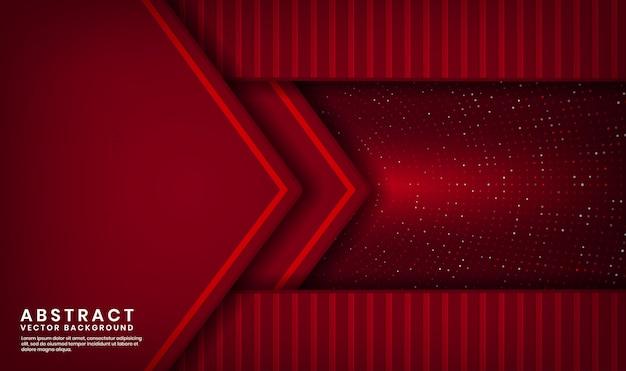 Strato di sovrapposizione del fondo di lusso rosso astratto 3d su spazio scuro con scintillio dei punti e forma strutturata di legno