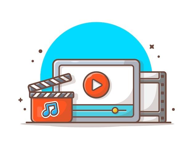 Streaming di video musicali con il pulsante play e note of music. onilne streaming white isolato